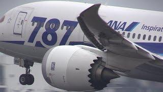 [熊本空港応援] 阿蘇熊本空港を豪快に離陸するボーイング787ドリームライナー Boeing787Dreamliner