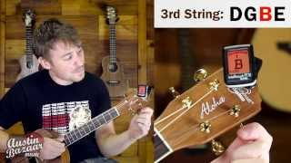 how to tune a baritone ukulele to dgbe (standard tuning)