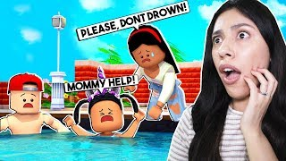 MY DAUGHTER ALMOST DROWNED AT THE BEACH! - Roblox Roleplay - Bloxburg