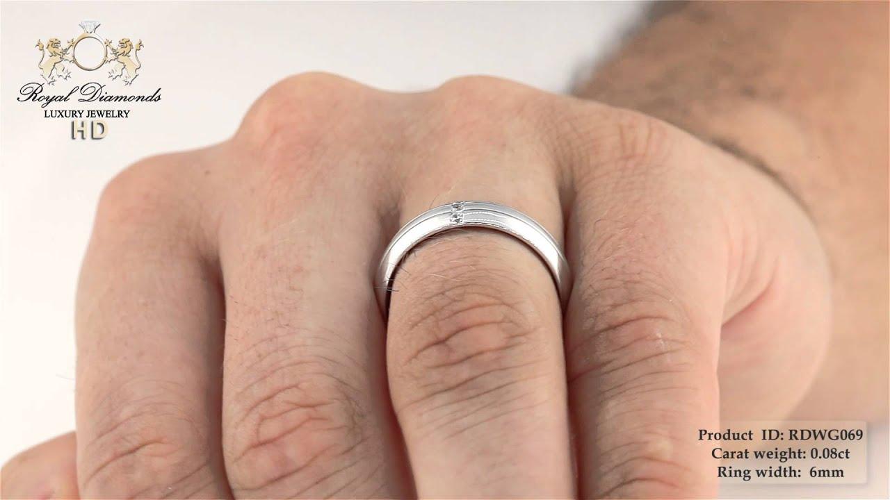 Verighetainel Cu Diamant Barbat Aur Alb 18kt Cu 3 Diamante Rotunde