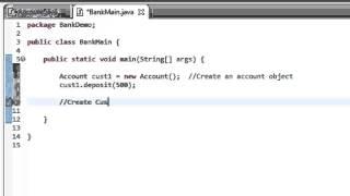 Java Tutorial 10: Create a simple Bank Account