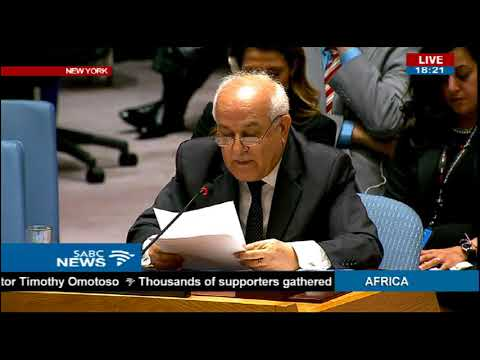 Palestinian ambassador to the UN, Riyad Mansour addresses security council