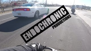 2 Stunt Bikes vs Charger Cop Car!