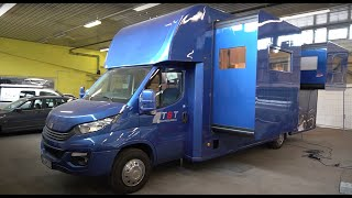 Most beautiful motorhome in Europe:2 Slideout IvecoDailyTST HarleyGarage Hotelbedroom Design kitchen
