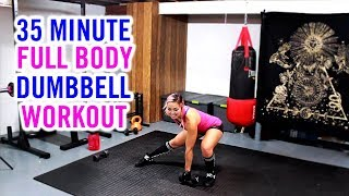 35 Minute Full Body FUN Dumbbell Workout | At Home Cardio, Strength & Abs