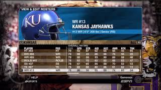 NCAA Football 09 Kansas Jayhawks Overall Player Ratings