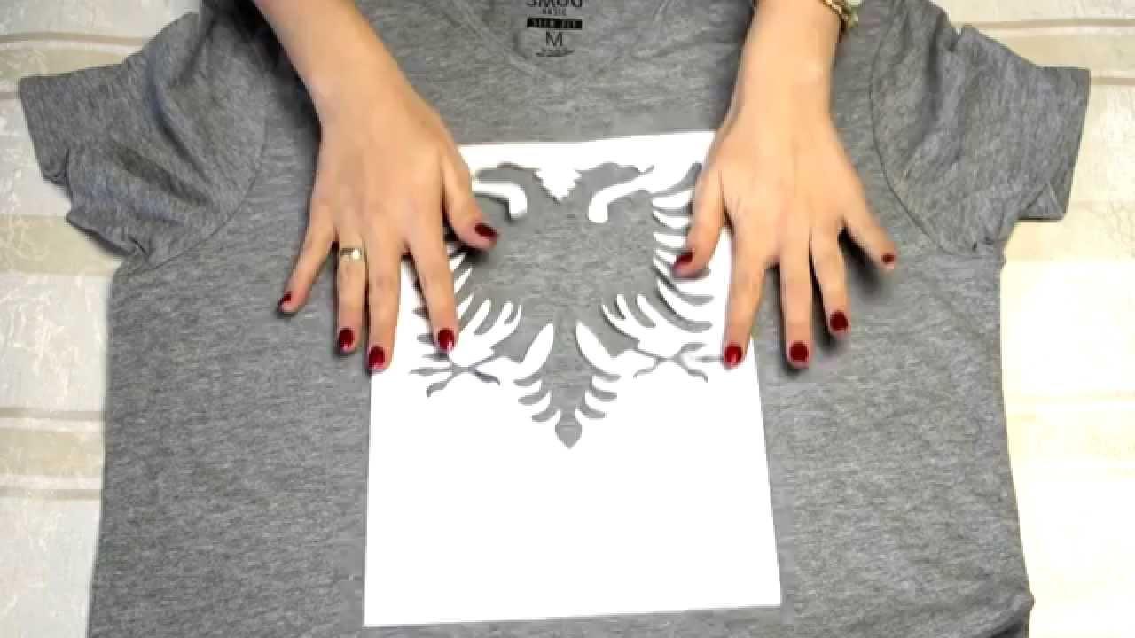 diy t shirt selbst bedrucken mit shqiponje muster youtube. Black Bedroom Furniture Sets. Home Design Ideas
