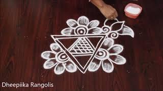 simple and easy rangoli design witout dots I freehand kolam design * muggulu designs