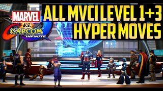 MVCI ▰ Every Level 1/3 Hyper Super Combo【All Characters - Marvel Vs Capcom Infinite】