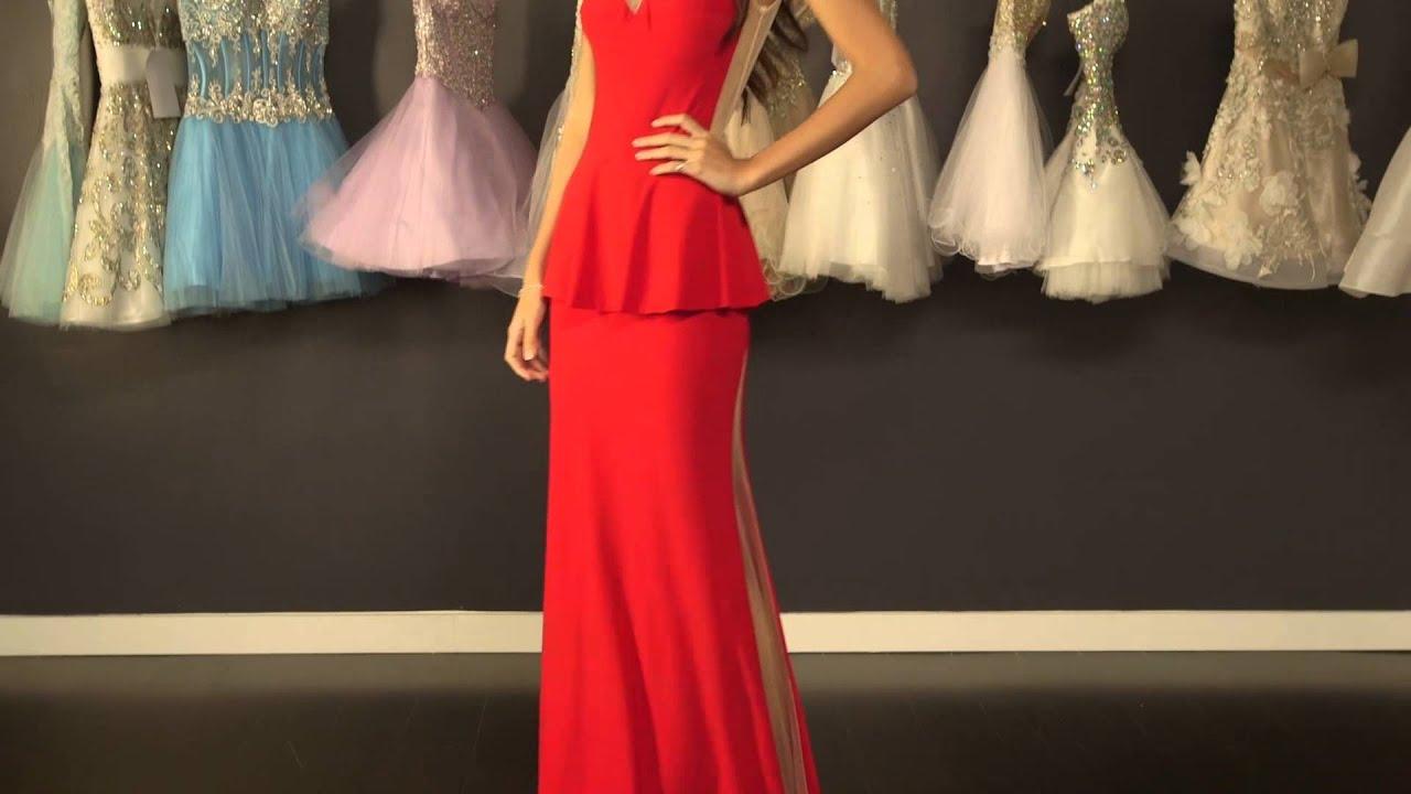 Red Jersey Peplum Gown 73539 | Jovani - YouTube
