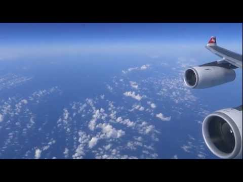 Swiss Airbus A340-300 - powerful take-off in Zuerich bound for Newark