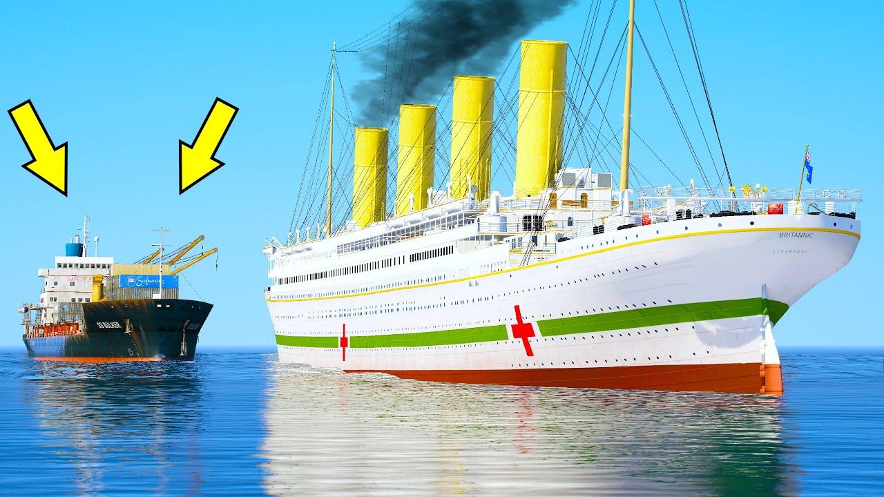 Britannic Sinking After Cargo Ship Crashing in GTA 5 (HMHS Britannic Sinking)