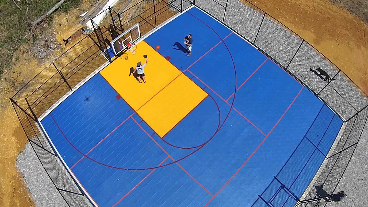 Colorful Backyard Sport Court   Half Court Basketball With Pickleball Lines