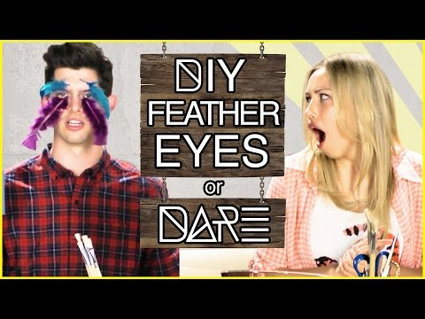 DIY Feather Eyes?!  DIDare w Gracie Dzienny & Hunter March