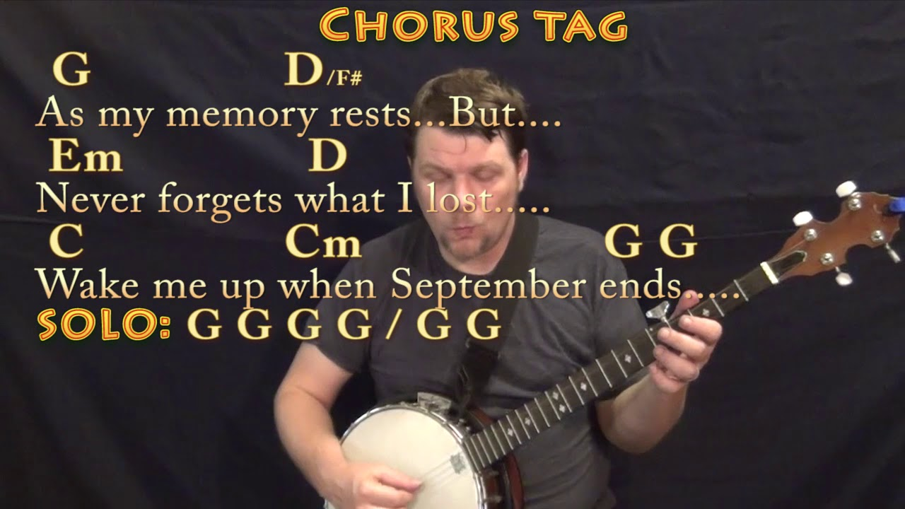 Wake Me Up When September Ends Green Day Banjo Cover Lesson In G