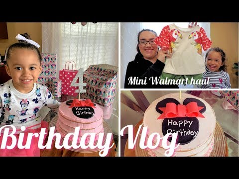 Birthday Vlog || Making Minnie Mouse Cake || Mini Walmart Haul