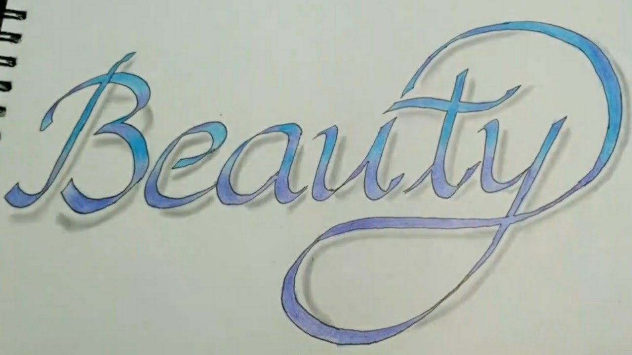 Double pencil calligraphy namebeauty colour drawing