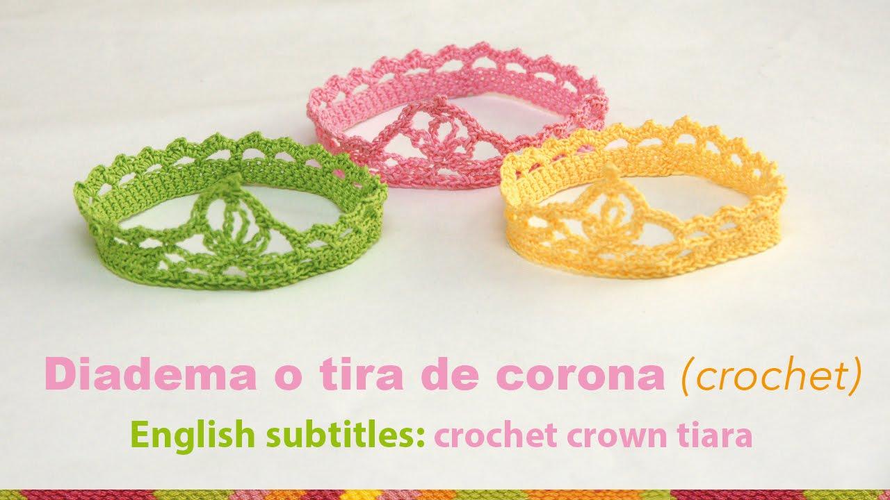 Diadema o tiara de corona tejida a crochet para bebés / English subtitles crochet baby crown tiara