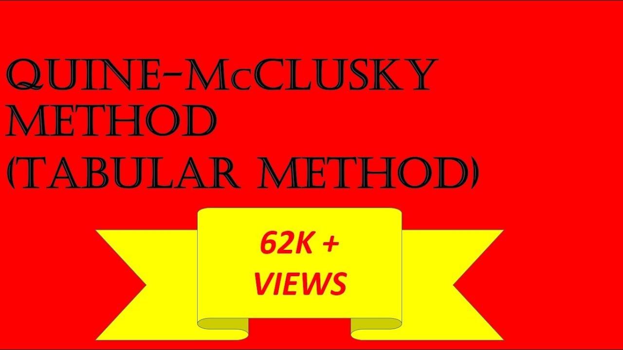 minimization using quine mccluskey tabular method minimization using quine mccluskey tabular method