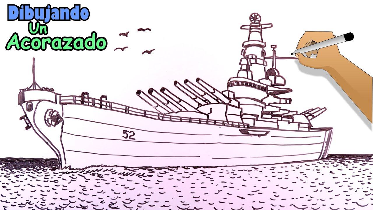 Cómo dibujar barcos 6/8 - Un Acorazado de guerras mundiales