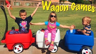 3 Kid Choo Choo Wagon Games! Wonder Women Toys at The Park & Kids Playing Ball in The House