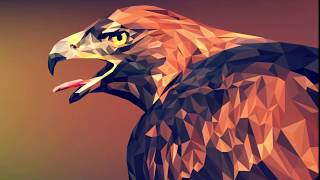 Draw eagle in low-poly style.
