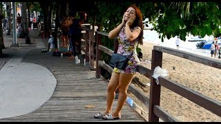 Pattaya Beach Road -  Ladies wait for customers to go to their hotel 2018