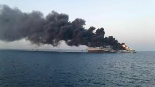 video: Iranian naval ship catches fire and sinks in Gulf of Oman in 'unclear circumstances'