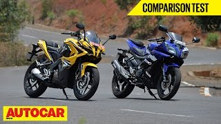 Bajaj Pulsar RS 200 vs Yamaha YZF-R15 | Comparison Test | Autocar India