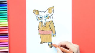 How to draw and color Master Shifu from Kung Fu Panda