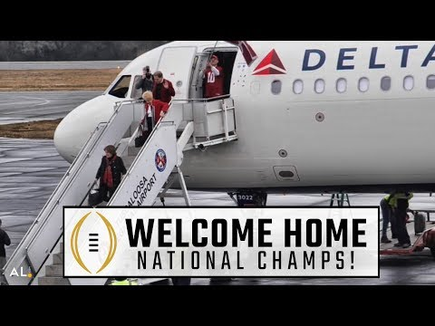 Alabama returns to Tuscaloosa airport after national championship win
