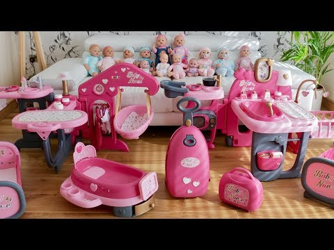 Baby Dolls Huge Nursery Center Baby Born Baby Annabel Care Routine Pretend play and Nursery Rhymes