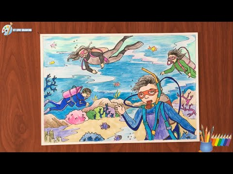 Vẽ tranh đề tài ước mơ của em - khám phá đại dương - ktlovedrawing