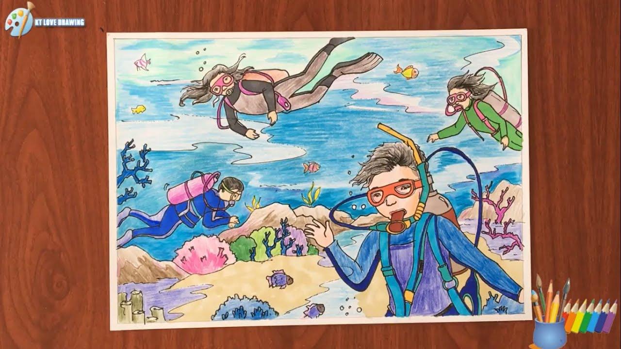 Vẽ tranh đề tài ước mơ của em – khám phá đại dương – ktlovedrawing
