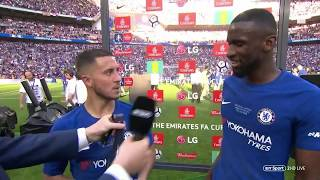 """Eden Hazard please stay!"" 🤣 Rudiger and Hazard"