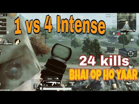 1 vs 4 PUBG Mobile || intense Last Circle