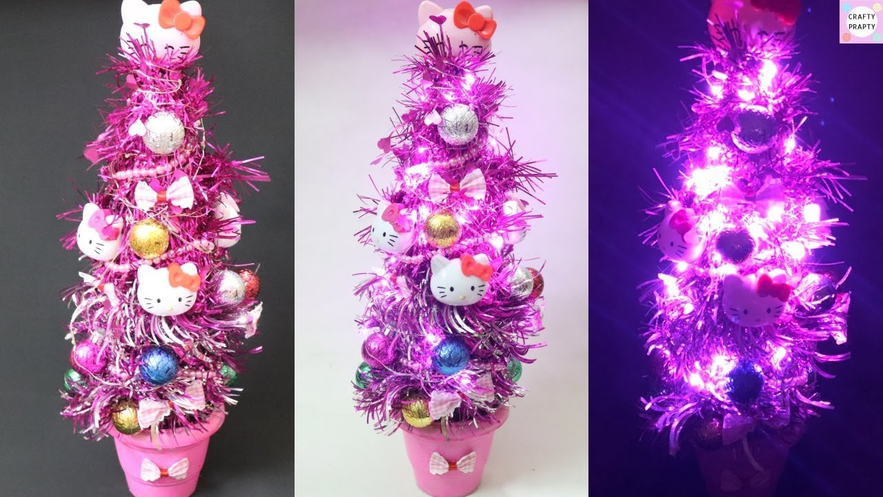 Diy Hello Kitty Christmas Tree Waste Bottle Craft How To Make X Mas Tree With Bottle Youtube