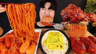 ASMR MUKBANG 버섯 우동볶음 & 치즈 통스팸 & 양념 치킨먹방! FIRE Noodle & FRIED CHICKEN & CHEESE SPAM EATING SOUND!
