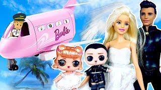 Куклы ЛОЛ Сюрприз Сборник - #мультики N°2 I Свадьба! Красивая невеста I Самолёт Барби на море