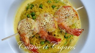 Rice And Tiger Prawns With Saffron Sauce Recipe