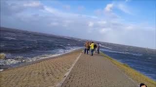 13.09.17: Leichte Sturmflut  -  Sturmtief Sebastian an Nordsee Carolinensiel-Harlesiel