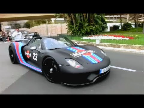 porsche 918 spyder in monaco exhaust sound youtube. Black Bedroom Furniture Sets. Home Design Ideas