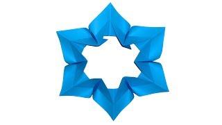 Origami snowflake Новогодняя снежинка из бумаги. Оригами елочное украшение на Новый год 2018