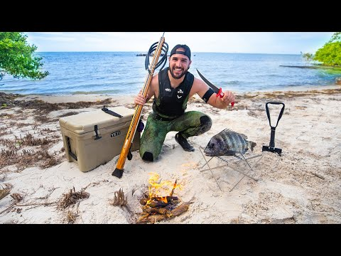 Spearfishing For SURVIVAL On REMOTE Island!! (Catch, Clean,Cook)