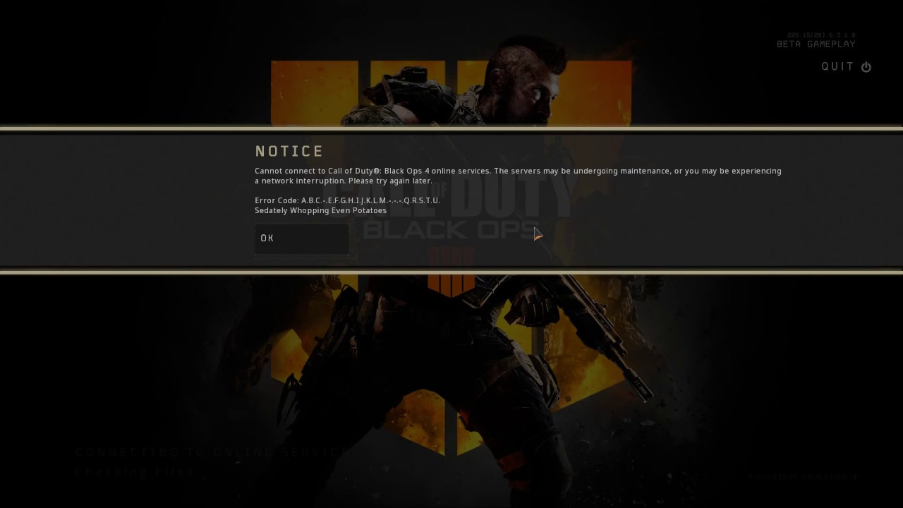 call of duty not connecting to matchmaking server