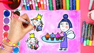 Drawing and Colouring Nanny Plum Ben and Holly