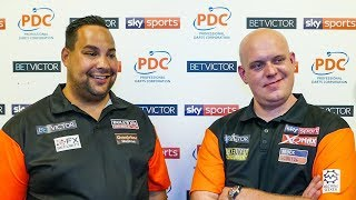 Michael van Gerwen and Jermaine Wattimena - Team Netherlands through first round