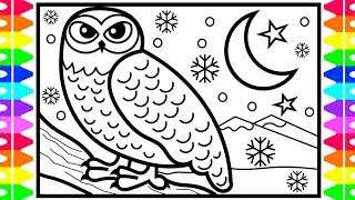 How to Draw a Snowy Owl Step by Step | Arctic Animals Coloring Pages for Kids | Owl Coloring Page