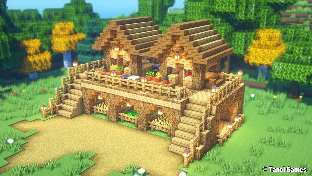 Minecraft: How to Build a Survival Starter Wooden House  (tutorial) [마인크래프트 건축 야생 집 인테리어]