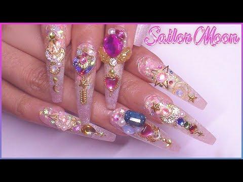 🌙 Sailor Moon Acrylic Nail Art Tutorial | PRESS ON NAILS🌙
